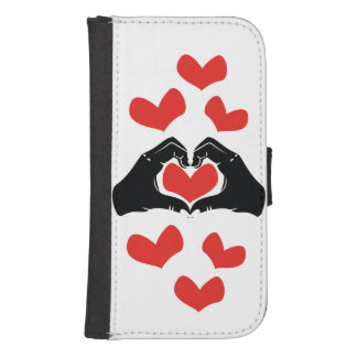 Heart Shape Hands Illustration with red hearts Samsung S4 Wallet Case