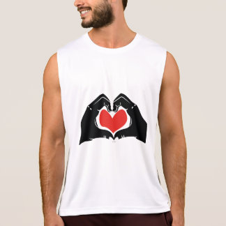 Heart Shape Hands Illustration with red hearts Tank Top