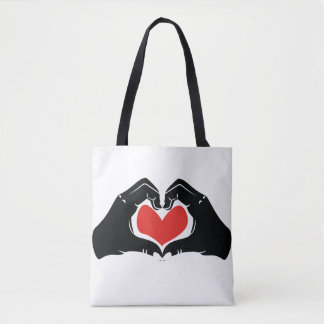 Heart Shape Hands Illustration with red hearts Tote Bag