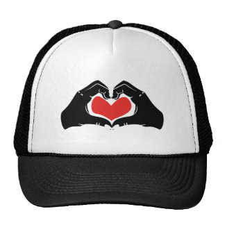 Heart Shape Hands Illustration with red hearts Trucker Hat