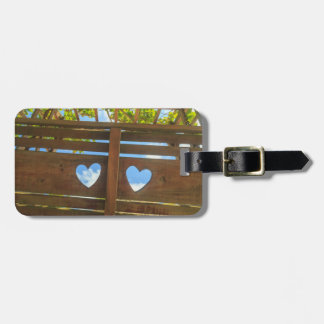Heart shape in a fence, Belize Bag Tag