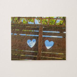 Heart shape in a fence, Belize Jigsaw Puzzle
