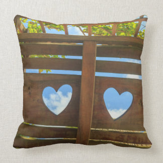 Heart shape in a fence, Belize Throw Pillow