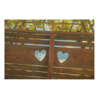 Heart shape in a fence, Belize Wood Canvases