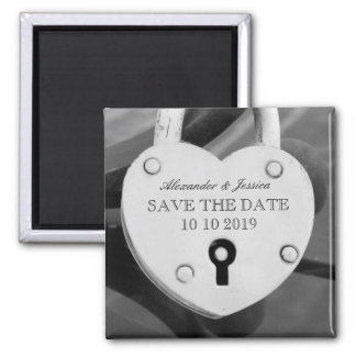 Heart shape love lock photo Save the date magnet