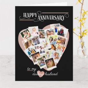 Heart Shape Photo Collage Wedding Anniversary Card