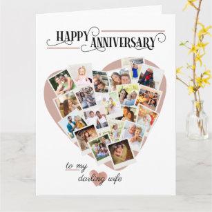 Heart Shape Photo Montage Big Wedding Anniversary Card