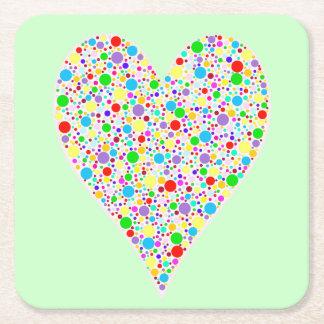 Heart Shape rainbow multi colored Polka Dots Square Paper Coaster