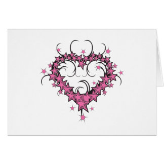 heart shape stars tattoo design greeting cards