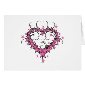 heart shape stars tattoo design greeting card