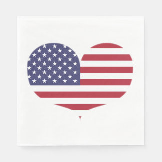Heart Shaped American Flag Disposable Napkins