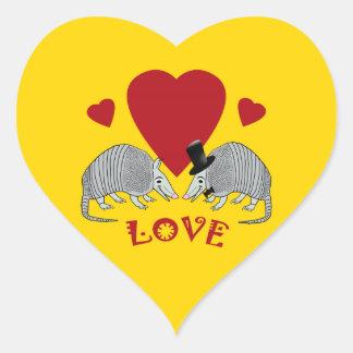 Heart Shaped Armadillo Love Heart Sticker