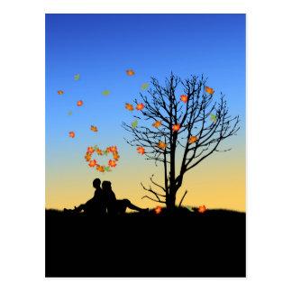 Heart-Shaped Autumn Leaves - Postcard