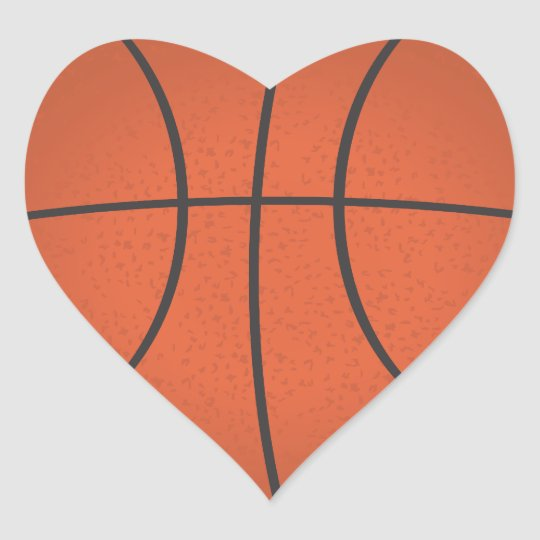 Heart shaped basketball sticker