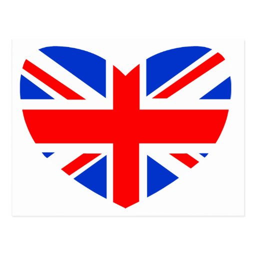 Heart Shaped British Flag Postcards