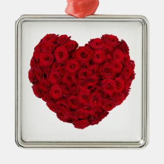 Heart shaped bunch Silver-Colored square ornament