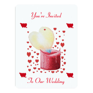 """heart shaped buring flame red candle wedding 6.5"""" x 8.75"""" invitation card"""
