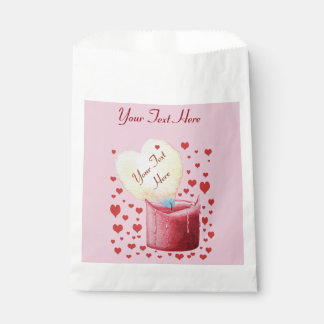 heart shaped buring flame romantic pink wedding favour bag