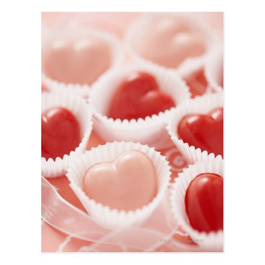 Heart-shaped candies postcard