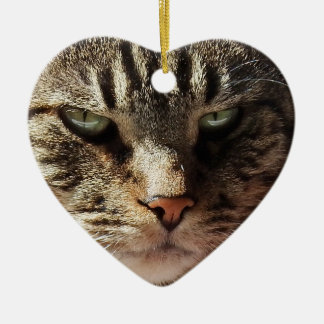 Heart Shaped Cat Valentine's Day Ceramic Ornament