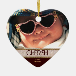 Heart Shaped CHERISH Every Moment Christmas Orname Ceramic Ornament