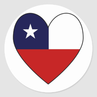 Heart-shaped Chile Flag Valentine Round Sticker