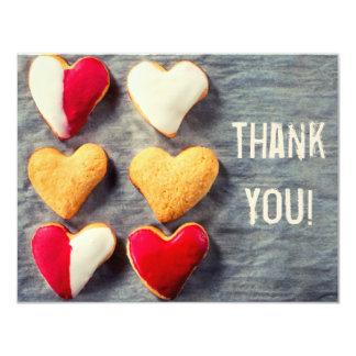 "Heart Shaped Cookies on Slate Thank You Card 4.25"" X 5.5"" Invitation Card"