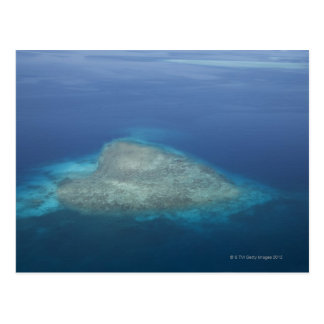 Heart shaped coral reef postcard