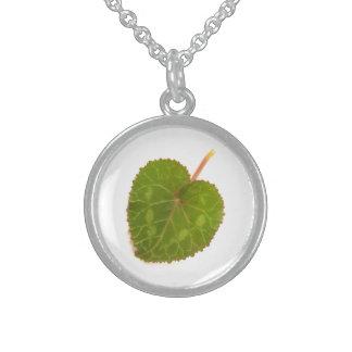 Heart-shaped Cyclamen Leaf Sterling Silver Necklace