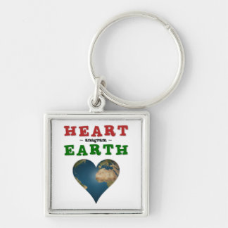 Heart shaped Earth Silver-Colored Square Keychain