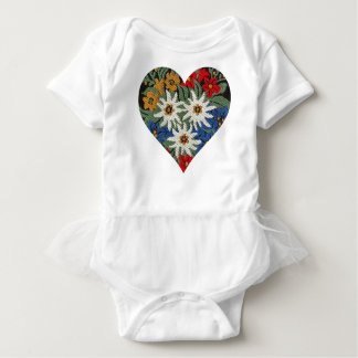 Heart Shaped Edelweiss Alpine Flower Baby Bodysuit