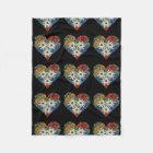 Heart Shaped Edelweiss Alpine Flower Fleece Blanket