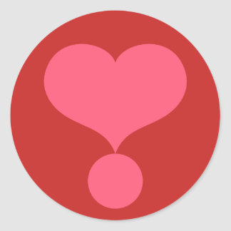 Heart Shaped Exclamation Point Classic Round Sticker