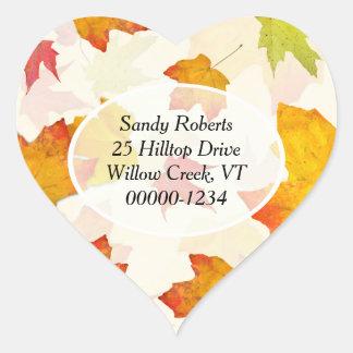 Heart Shaped Fall Return Address Labels