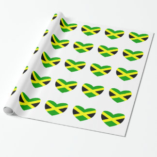 Heart Shaped Flag of Jamaica Wrapping Paper