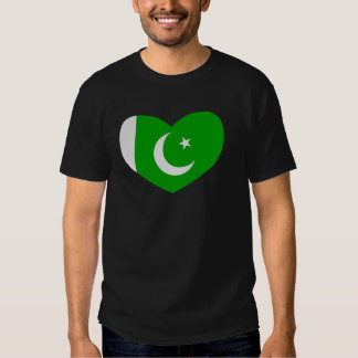Heart Shaped Flag of Pakistan Tee Shirts