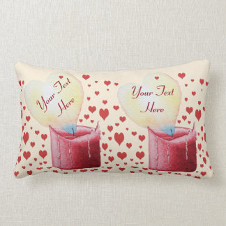 heart shaped flame burning red candle design lumbar pillow