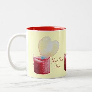 heart shaped flame red candle art Two-Tone coffee mug