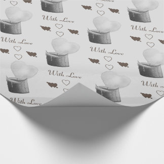 heart shaped flame red candle monocrome love wrapping paper