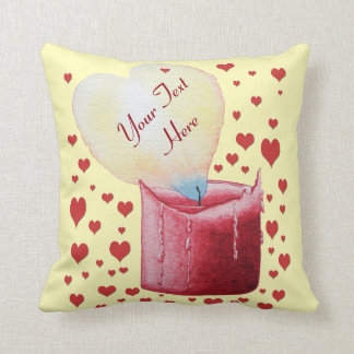 heart shaped flame red candle original art design throw pillow