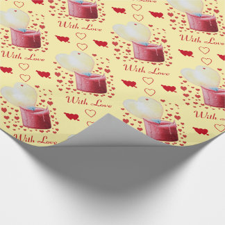 heart shaped flame red candle painting romantic wrapping paper