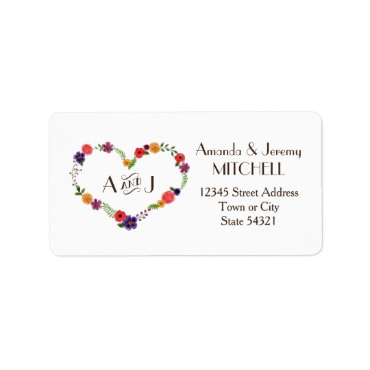 Heart-Shaped Flower Wreath Rustic Wedding Label