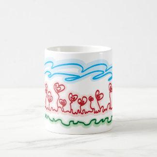 heart shaped flowers tea cup mugs