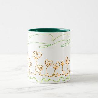 heart shaped flowers Two-Tone coffee mug