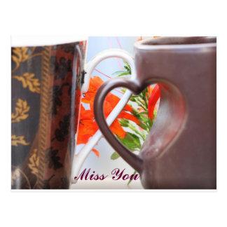 Heart Shaped Handle Mugs Postcard
