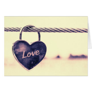 Heart-Shaped Lock on Rope Valentine's Card