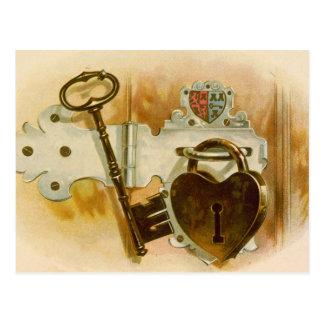 Heart shaped lock tobacco postcard
