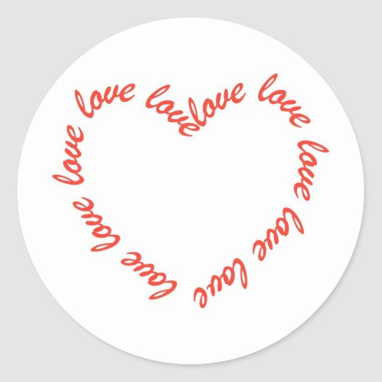 Heart Shaped Love Classic Round Sticker