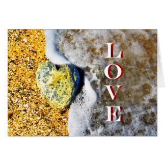 Heart shaped Love Pebble on the Beach Card