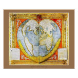 Heart Shaped Medieval French World Map Poster